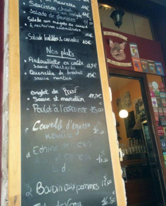 Carte du bouchon lyonnais Tete de lard