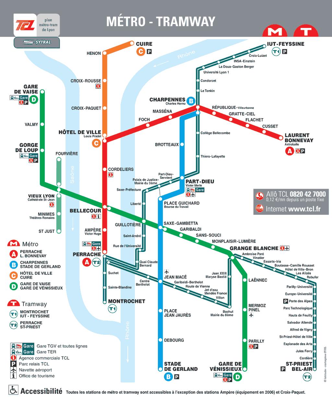 Plan TCL du métro de Lyon